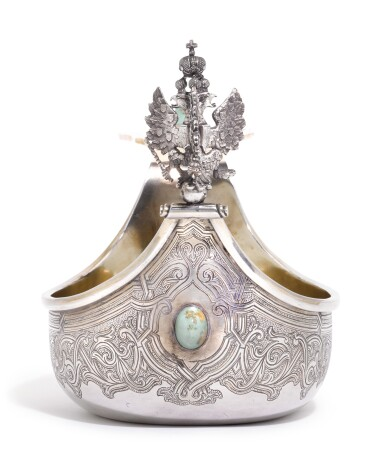 View 2. Thumbnail of Lot 244. A Russian gem-set and silver-gilt kovsh, Grachev Brothers, St Petersburg, circa 1890.