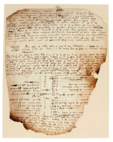 View 5. Thumbnail of Lot 61. NEWTON | Autograph manuscript notes on the Great Pyramid of Egypt, c. 1680s.
