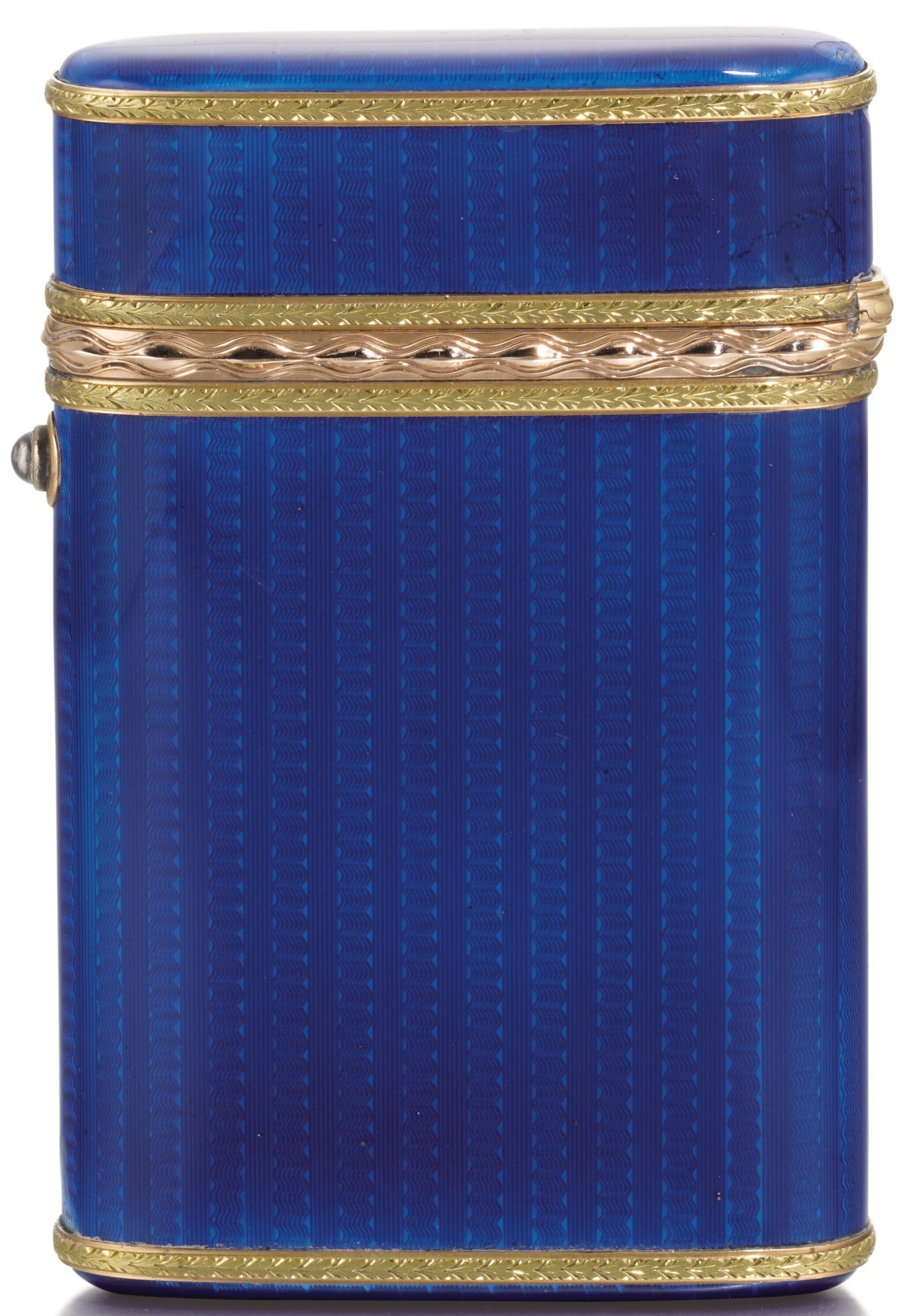 View full screen - View 1 of Lot 290. A Fabergé Imperial two-colour gold-mounted guilloché enamel cigarette case, workmaster Michael Perchin, St Petersburg, 1899-1903.