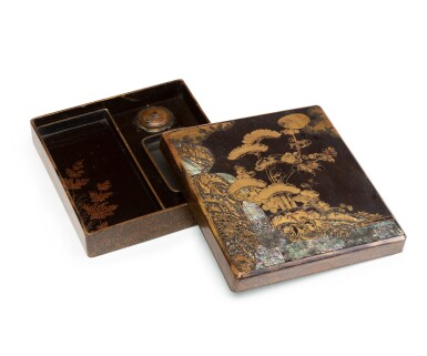 View 2. Thumbnail of Lot 224. A mother-of-pearl inlaid gold and black lacquer suzuribako, Japan, Edo period.