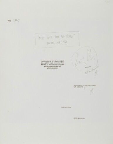 View 3. Thumbnail of Lot 8. 'Miles Davis, Hand and Trumpet, New York' .