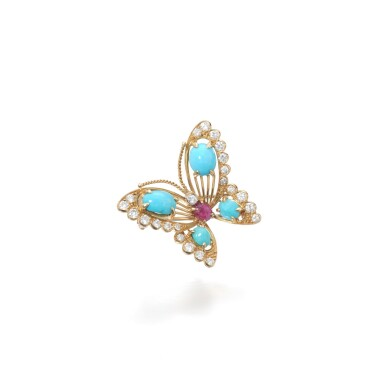 View 1. Thumbnail of Lot 16. Turquoise, ruby and diamond brooch.