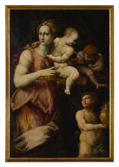 View 2. Thumbnail of Lot 512. FLORENTINE SCHOOL, MID 16TH CENTURY | ALLEGORY OF CHARITY.