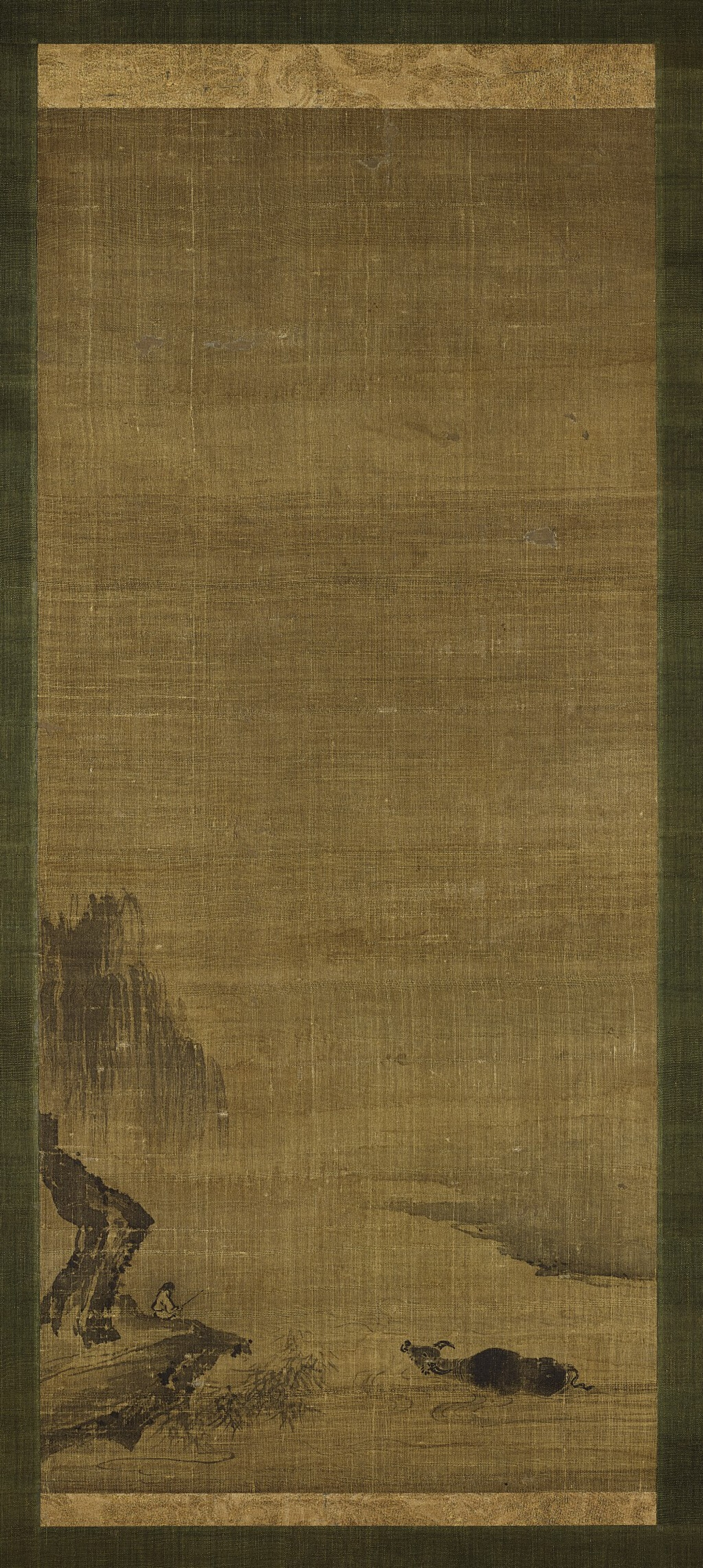 View full screen - View 1 of Lot 21. A scroll painting with ox motif Attributed to Yujian, Southern Song dynasty | 南宋 傳玉澗《牧牛圖》軸 水墨絹本.