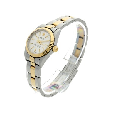View 2. Thumbnail of Lot 82. REFERENCE 76193 OYSTER PERPETUAL A STAINLESS STEEL AND YELLOW GOLD AUTOMATIC WRISTWATCH WITH BRACELET, CIRCA 2001.