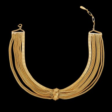 View 2. Thumbnail of Lot 1111. Christian Dior, 1960 A knotted multi-chain gold necklace 1960   年 克里斯汀·迪奧 金項鍊.