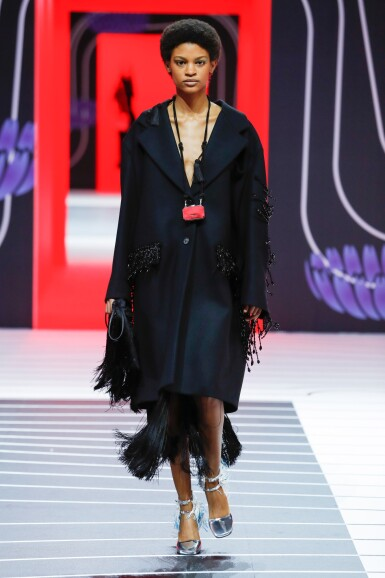 View 7. Thumbnail of Lot 8. PRADA | WOOL BEADED FRINGE COAT AND VANITY NECKLACE,   WORN BY THERESA HAYES.