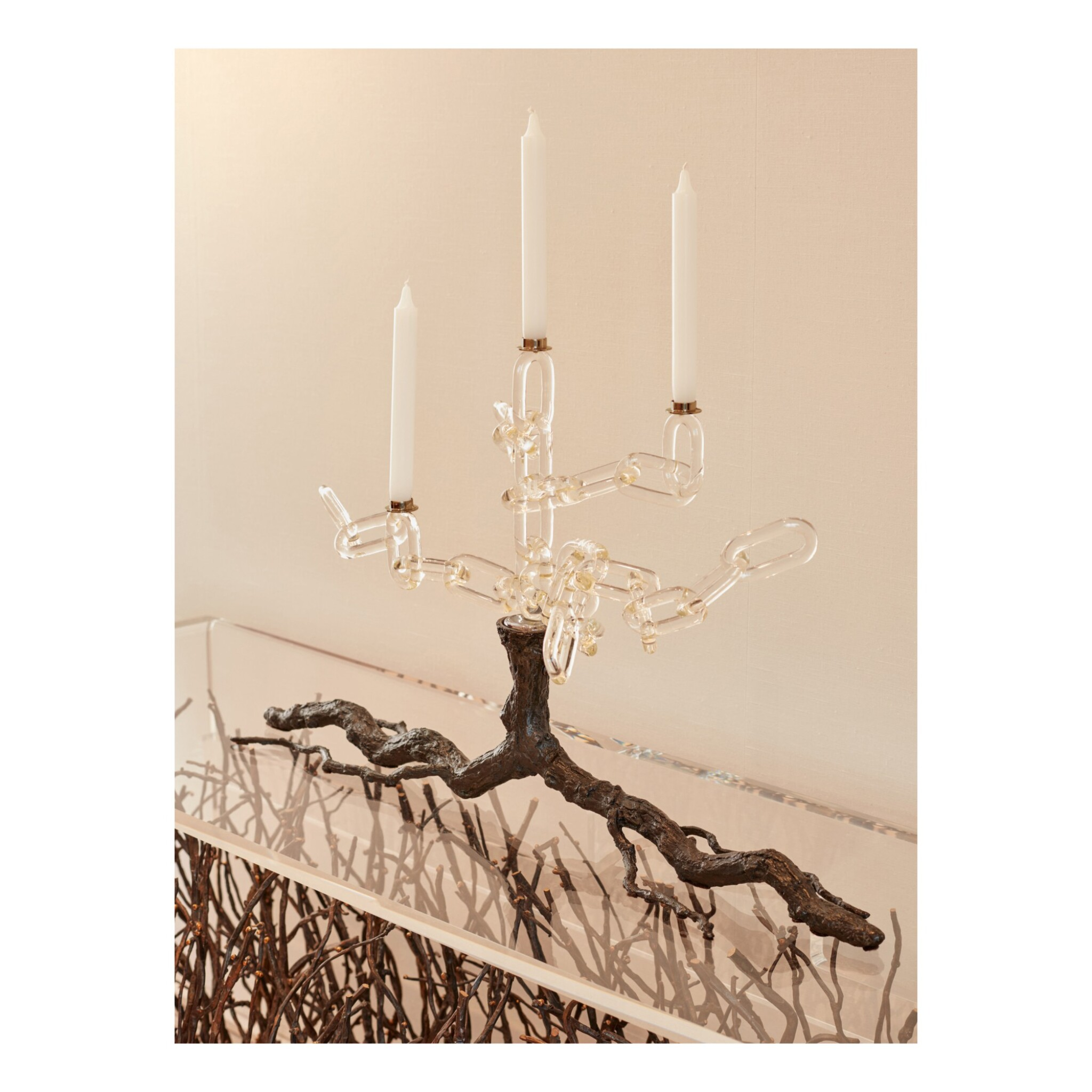 """View full screen - View 1 of Lot 62. Three """"Family Chain"""" Candelabras."""