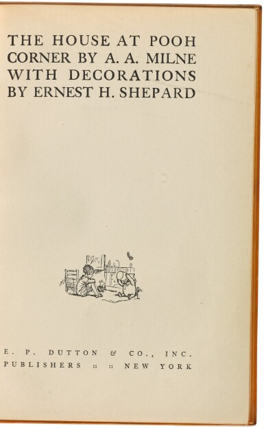 View 2. Thumbnail of Lot 158. MILNE, A. A. | The House at Pooh Corner. New York: E.P. Dutton and Co., 1928.