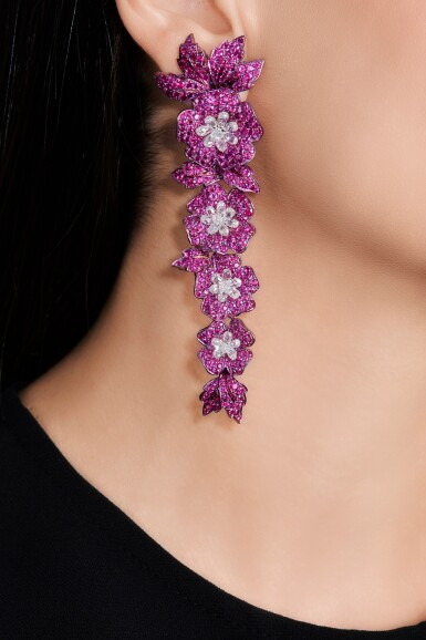 View 4. Thumbnail of Lot 88. Pair of ruby and diamond earrings.