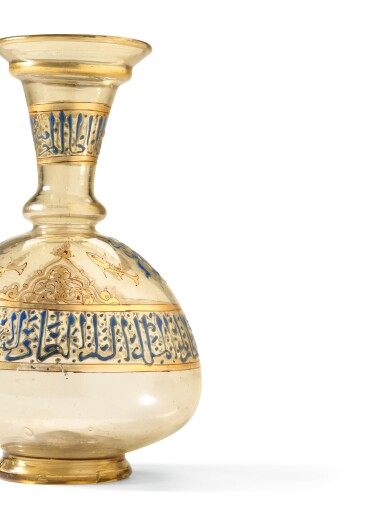 View 3. Thumbnail of Lot 449. A HIGHLY IMPORTANT MAMLUK GILDED AND ENAMELLED GLASS FLASK, SYRIA, MID-13TH CENTURY.