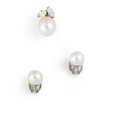 Cultured pearl and diamond pendant and pair of ear clips [Pendentif et paire declips d'oreille perles de culture et diamants]