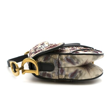 View 2. Thumbnail of Lot 21. DIOR   HANDPAINTED AND BEADED MINI SADDLE BAG FROM THE KALEIDIORSCOPIC COLLECTION IN CALFSKIN WITH GOLD TONE HARDWARE, 2019.