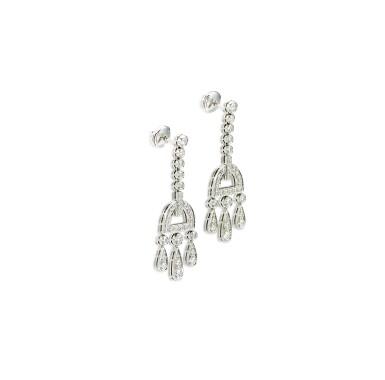 View 2. Thumbnail of Lot 9168.  PAIR OF DIAMOND PENDENT EARRINGS, TIFFANY & CO.   鑽石吊耳環一對, 蒂芙尼 ( Tiffany & Co. ).