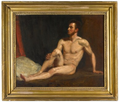 View 2. Thumbnail of Lot 115. Male nude seated on a bed.