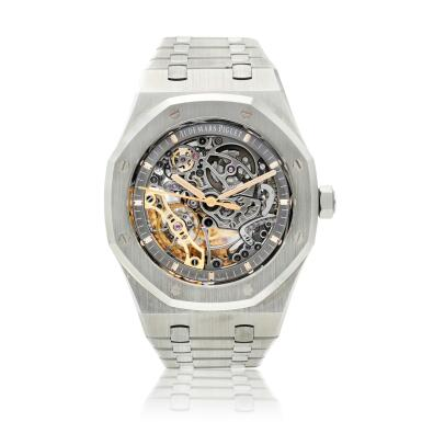 View 1. Thumbnail of Lot 56. Reference 15407ST.OO.1220ST.01 Royal Oak, A stainless steel skeletonized double balance wheel bracelet watch, Circa 2018.