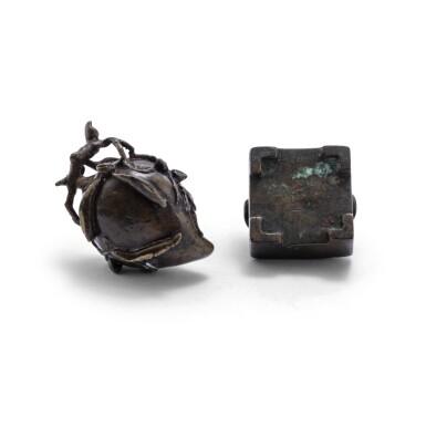 View 2. Thumbnail of Lot 73. Deux petits brûle-parfums en bronze XVIIE-XVIIIE siècle | 十七至十八世紀 銅桃式及四方小香爐一組兩件 | A small bronze 'peach' incense burner and a bronze archaistic square incense burner, 17th - 18th century.