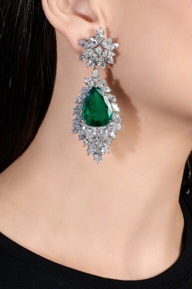 View 5. Thumbnail of Lot 172.  Harry Winston | Pair of emerald and diamond pendent ear clips, 1970s | 海瑞溫斯頓 | 祖母綠配鑽石耳墜一對,1970年代.