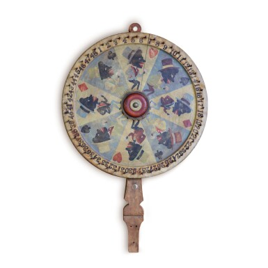 VERY FINE AND RARE POLYCHROME PAINT-DECORATED GAME WHEEL, CIRCA 1900