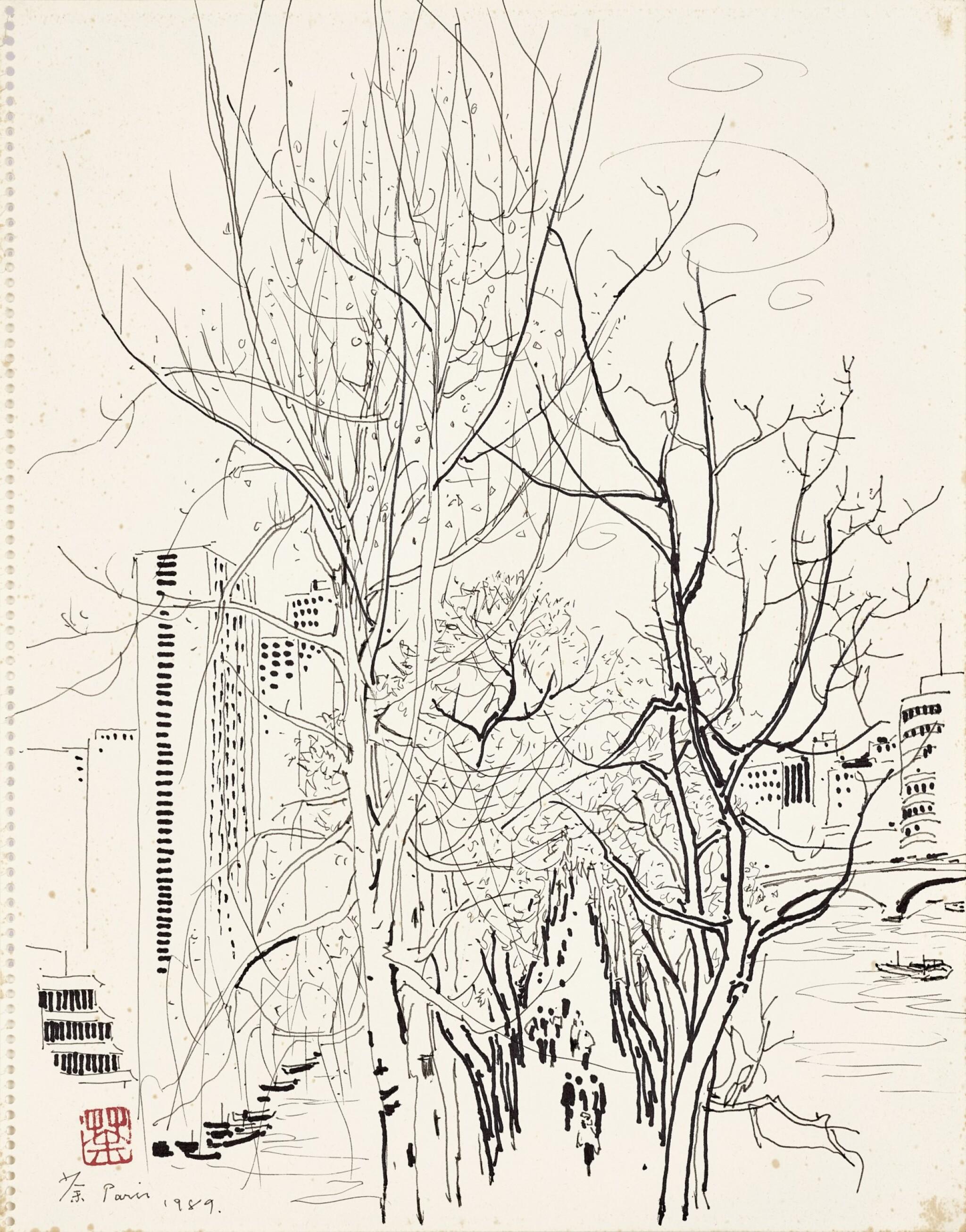 View full screen - View 1 of Lot 2519. Wu Guanzhong 吳冠中 | Scenery Along the Seine 巴黎塞納河.