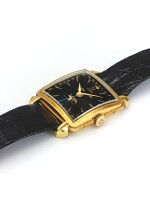 OMEGA | REF OT 3944 COSMIC, A YELLOW GOLD SQUARE TRIPLE CALENDAR WRISTWATCH WITH MOON PHASES AND BLACK DIAL MADE IN 1953