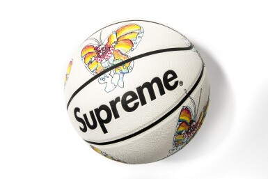 View 2. Thumbnail of Lot 8. SUPREME GONZ BUTTERFLY SPALDING BASKETBALL WITH SHOOTING SLEEVES [3 PIECES].