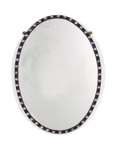 View 1. Thumbnail of Lot 102. A PAIR OF IRISH BLUE AND CLEAR GLASS BORDERED OVAL MIRRORS, GLASS ELEMENTS POSSIBLY LATE 18TH/EARLY 19TH CENTURY.