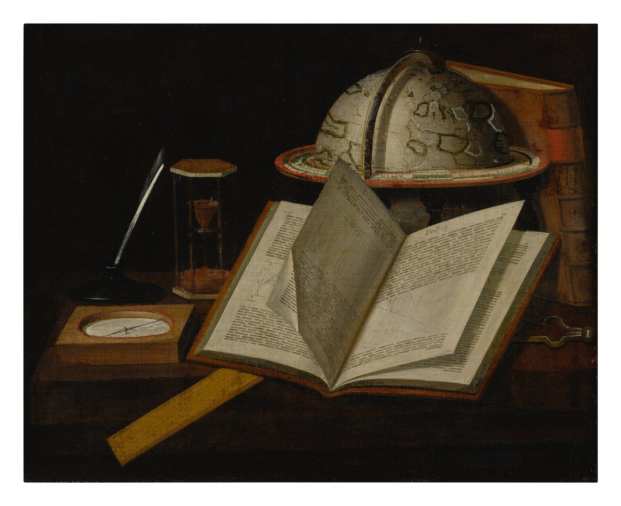 View full screen - View 1 of Lot 132. Sold Without Reserve   BRITISH SCHOOL, CIRCA 1700   A STILL LIFE OF VARIOUS SCIENTIFIC OBJECTS RELATED TO THE MEASUREMENT OF TIME AND NAVIGATION.