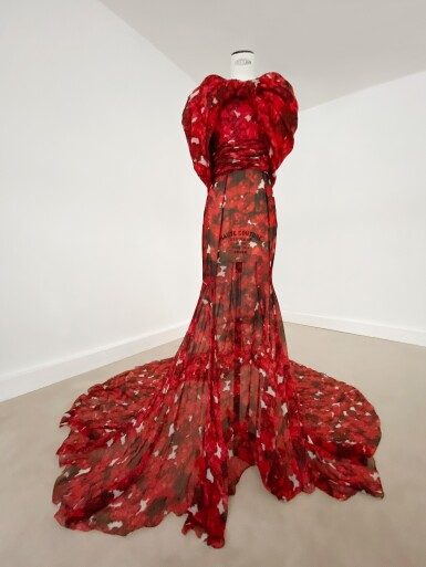 View 5. Thumbnail of Lot 37. Haute Couture Floral Printed Silk Chiffon and Gazar Evening Gown.
