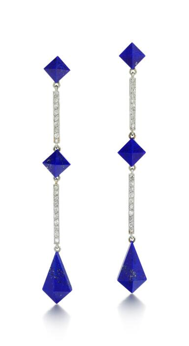 PAIR OF LAPIS LAZULI AND DIAMOND EARRINGS, LACLOCHE FRÈRES, 1920S