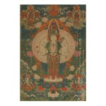 A THANGKA DEPICTING EKADASAMUKHA LOKESHVARA,  TIBETO-CHINESE, 18TH CENTURY