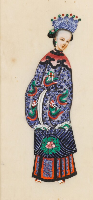 View 29. Thumbnail of Lot 163. A set of fourteen Chinese paintings on silk, Canton, 19th century.