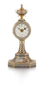 CONTINENTAL | A GOLD, ENAMEL AND PEARL-SET QUARTER REPEATING AND MUSICAL TIMEPIECE  LATE 18TH / LATE 19TH CENTURY