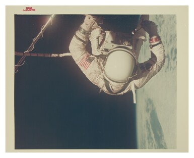 "View 1. Thumbnail of Lot 55. [GEMINI 12] BUZZ ALDRIN EVA DURING GEMINI 12 SPACEFLIGHT. VINTAGE NASA ""RED NUMBER"" PHOTOGRAPH, 12 NOVEMBER 1966.."