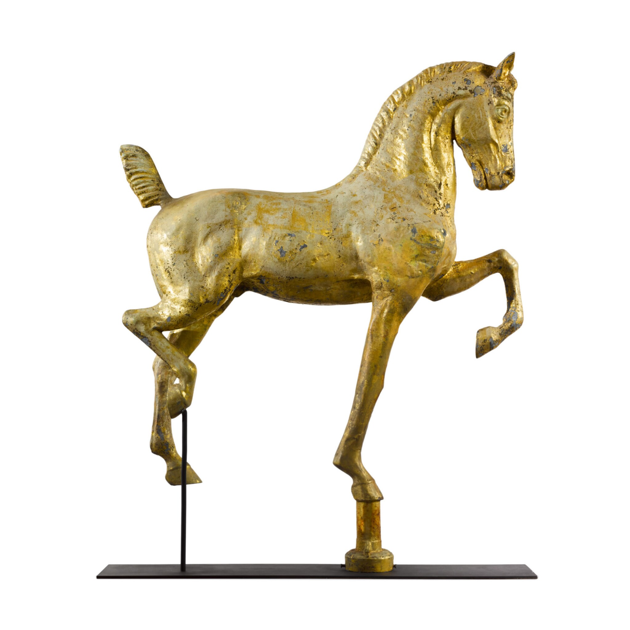 View full screen - View 1 of Lot 16. VERY FINE MOLDED FULL BODIED GILT SHEET COPPER AND ZINC HACKNEY HORSE WEATHERVANE, DUBUQUE, IOWA, CIRCA 1880.