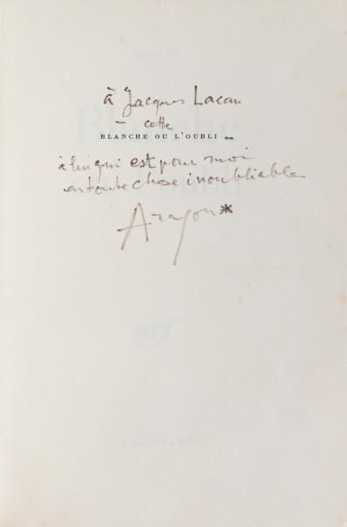 """View 2. Thumbnail of Lot 81. Ens. de 8 ouvrages avec envois à Jacques Lacan, dont """"Blanche ou L'Oubli"""", 1967, sur grand papier."""