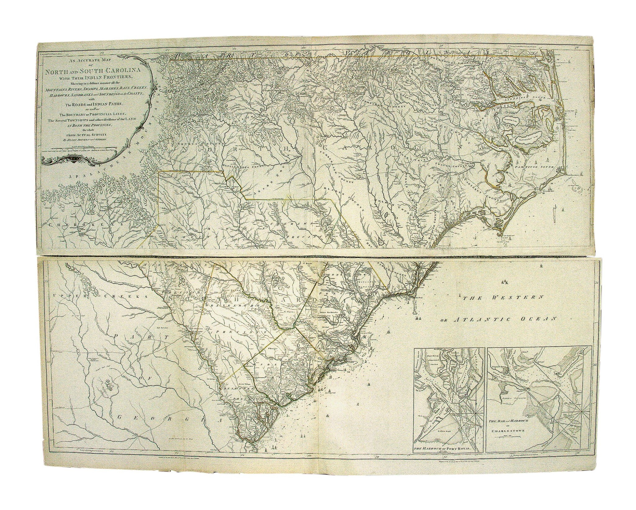 View full screen - View 1 of Lot 228. Mouzon, Henry   The most handsome map of the Carolinas ever made.