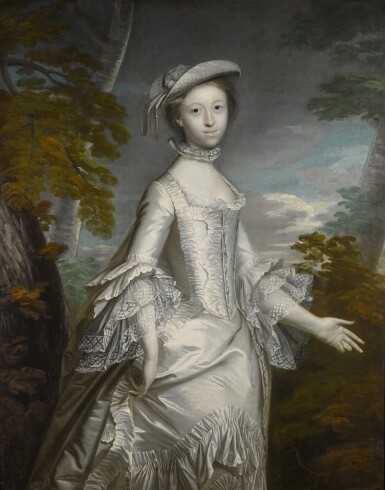 View 1. Thumbnail of Lot 192. Portrait of Mrs Anthony Eyre (d. 1800), three-quarter length, wearing a white frilled satin dress, standing in a landscape.