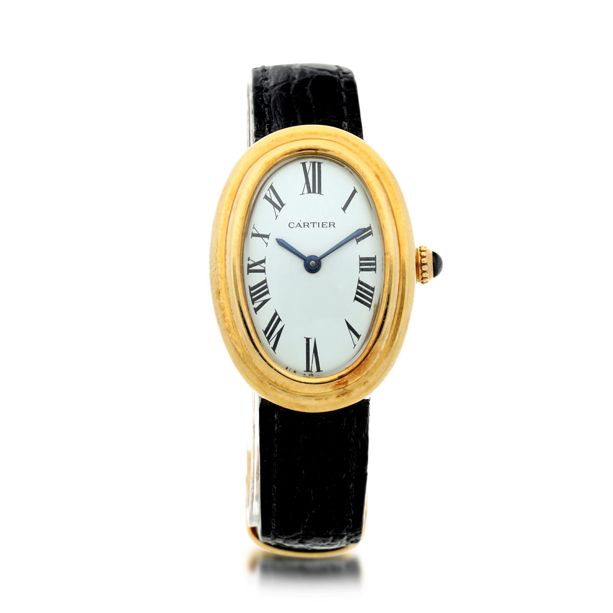 View full screen - View 1 of Lot 69. BAIGNOIRE A YELLOW GOLD LADY'S WRISTWATCH, CIRCA 1960.