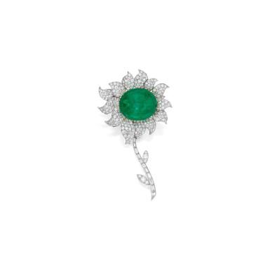 View 1. Thumbnail of Lot 99. Van Cleef & Arpels [梵克雅寶] | Emerald and Diamond Clip-Brooch, France [祖母綠配鑽石別針].