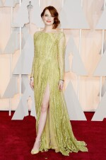 Full Length Haute Couture Gown with Thigh High Slit, Long Sleeves, Boat Neckline and a Burst of Sequins Cascading Down the Gown. In 'Apple' colour. Worn by Emma Stone at the 87th Academy Awards, 2015