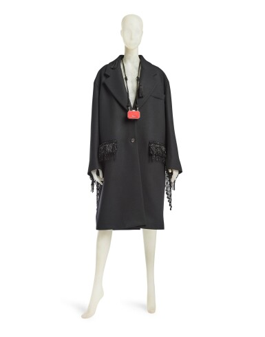View 2. Thumbnail of Lot 8. PRADA | WOOL BEADED FRINGE COAT AND VANITY NECKLACE,   WORN BY THERESA HAYES.