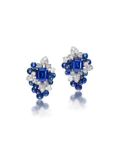 GRAFF | PAIR OF SAPPHIRE AND DIAMOND EARRINGS 格拉夫 | 藍寶石 配 鑽石 耳環一對