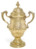 THE HAREWOOD CUP. A GEORGE III SILVER-GILT CUP AND COVER, JAMES YOUNG, LONDON, 1790