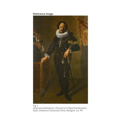 View 2. Thumbnail of Lot 33. ARTEMISIA GENTILESCHI |  PORTRAIT OF A GENTLEMAN, PROBABLY ANTOINE DE VILLE, FULL-LENGTH, RESTING HIS HAND ON A SWORD AND WITH HIS ARM AKIMBO.