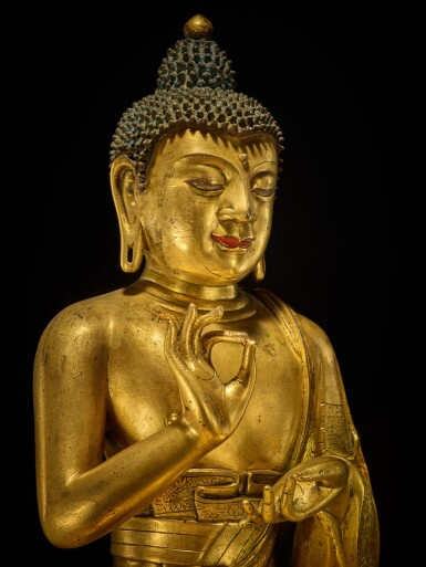 View 5. Thumbnail of Lot 60. A large gilt-bronze figure of Dipankara Buddha, Qing dynasty, Kangxi period | 清康熙 銅鎏金燃燈佛坐像.