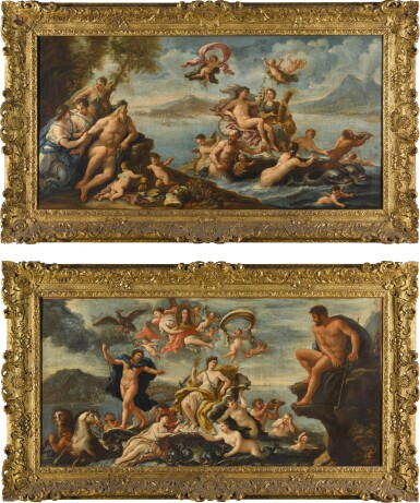 CIRCLE OF PAOLO DE' MATTEIS | AN ALLEGORY OF PROSPERITY AND THE ARTS IN THE CITY OF NAPLES; AND TRIUMPH OF GALATEA WITH A VIEW OF MESSINA BEYOND, AND A PORTRAIT OF CHARLES VI (1685-1740), HOLY ROMAN EMPEROR, HELD ALOFT BY VICTORY
