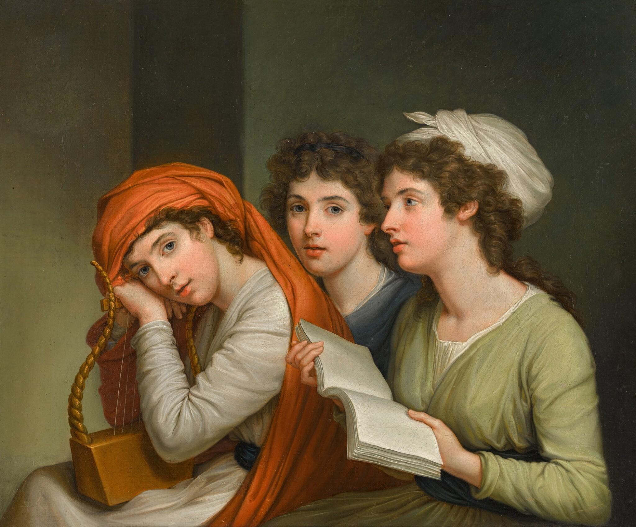 View full screen - View 1 of Lot 46. Triple portrait of Emma, Lady Hamilton (1765–1815), as the three Muses   《裝扮成三位繆斯的愛瑪・漢密爾頓夫人(1765–1815年)肖像》.