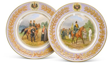 View 1. Thumbnail of Lot 107. Two porcelain military plates, Imperial Porcelain Factory, St Petersburg, period of Alexander II, 1875.