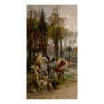 CESARE AUGUSTE DETTI | A NOBLE LORD AND LADY ON HORSEBACK